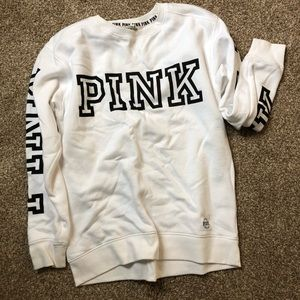 PINK White Crew Sweatshirt